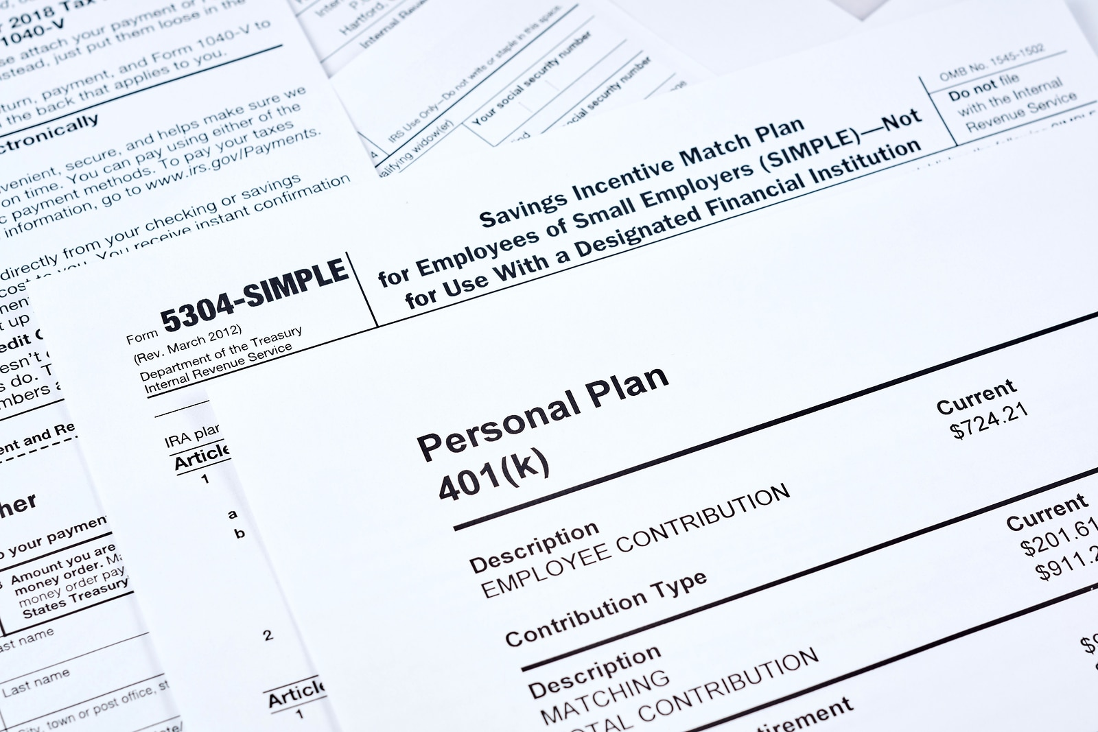 Tax reporting and retirement plan. Personal plan 401k form on against background 5304-simple tax form and other forms